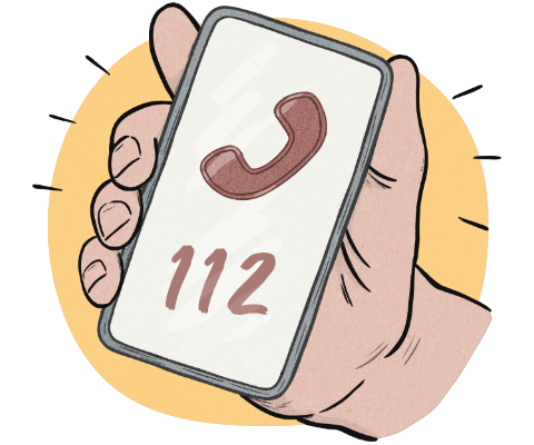 A telephone with the number 112 on the screen.